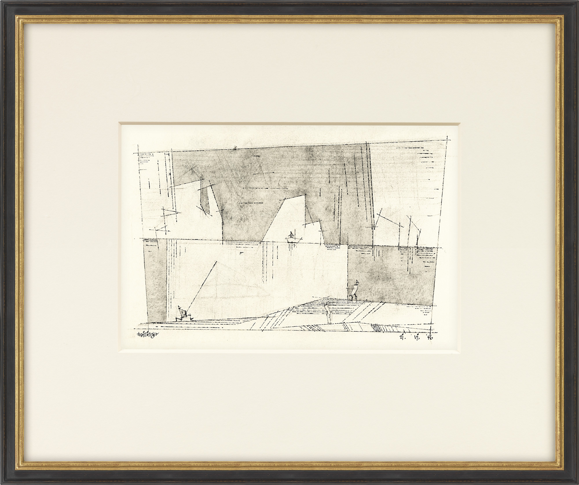 """Bild """"Drei Personen am Ufer und ein Schiff im Hintergrund"""" (1946) (Unikat)"""