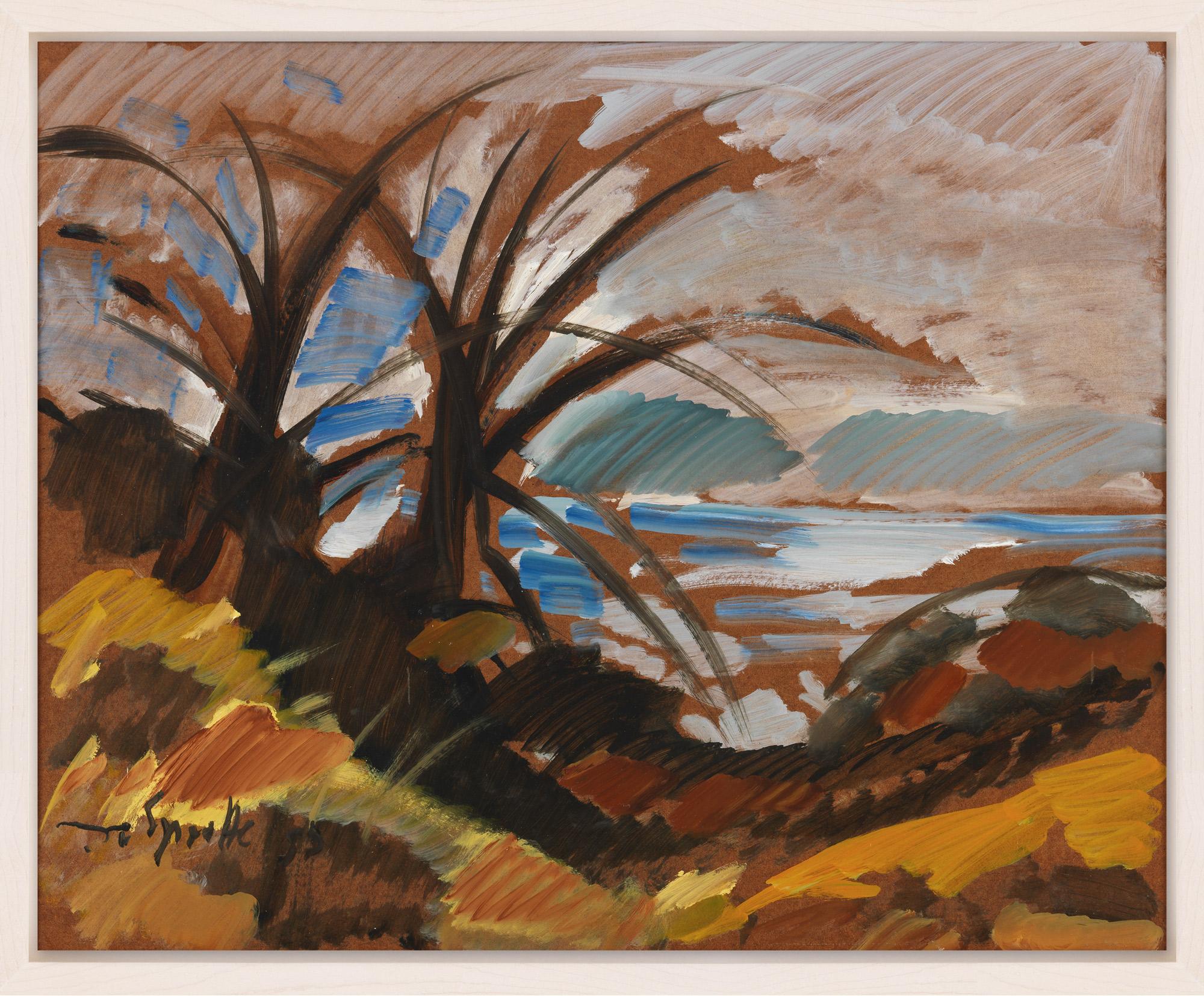 """Bild """"Landschaft mit Meer (braun)"""" (1991) (Unikat)"""