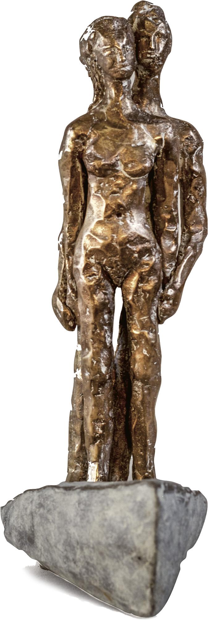 """Skulptur """"Große Reise (Paar im Boot)"""" (2017), Bronze"""
