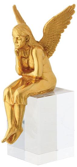 """Skulptur """"Schutzengel"""", Version vergoldet inkl. Sockel"""