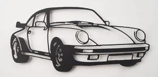 """Wandobjekt """"Porsche 911 Turbo (schwarz)"""" (2021) (Unikat)"""