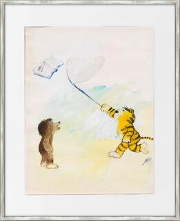 """Bild """"Tiger und Bär fangen ein Buch"""" (1965) (Unikat)"""