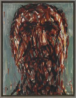 "Bild ""Frontaler Männerkopf (nach Gerhard Schröder)"" (1999) (Unikat)"
