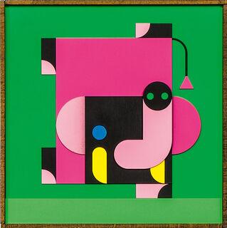 """Bild """"ELEFANT MACHT HANDSTAND pink/grün"""" (2020)"""