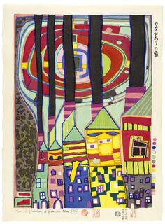 882A SNAIL HOUSES WITH BLACK SMOKE, SCHNECKENHÄUSER MIT SCHWARZEM RAUCH (1996) (Japanischer Farbholzschnitt)