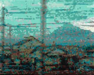 """Bild """"50 Ansichten des Berges Fuji_vom Zug aus betrachtet, Nr. VIII"""" (2010) (Unikat)"""