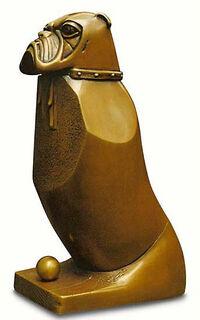 "Skulptur ""Dicker Hund Also"", Bronze"