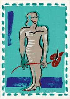 """Bild """"Stehender weiblicher Akt mit Anthurie"""" (1988)"""