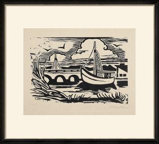 """Bild """"Boot an der Brücke"""" (1948)"""
