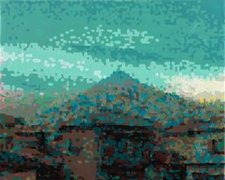 """Bild """"50 Ansichten des Berges Fuji_vom Zug aus betrachtet, Nr. XVI"""" (2010) (Unikat)"""