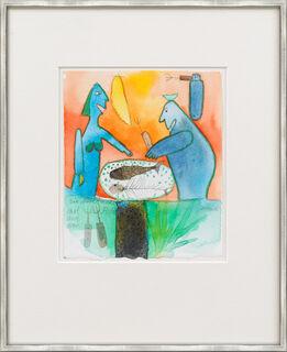 """Bild """"Ein Nachtmahl mit Fisch und Frau"""" (Unikat)"""
