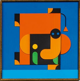 """Bild """"ELEFANT MACHT HANDSTAND orange/blau"""" (2020)"""