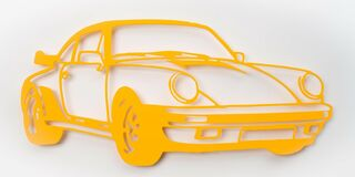 "Wandobjekt ""Porsche 911 Turbo (gelb)"" (2021) (Unikat)"