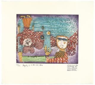 972 L'ATTERRISSAGE, DIE LANDUNG (blau) (1997) (Farbradierung)