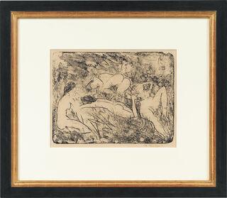 """Bild """"Eine Knieende und drei Liegende im Gras"""" (1914)"""