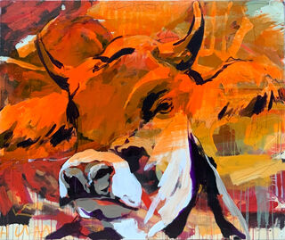 "Bild ""Orange Cow"" (2020) (Unikat)"