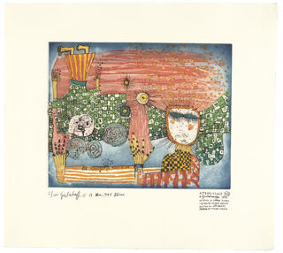 972 L'ATTERRISSAGE, DIE LANDUNG (rot) (1997) (Farbradierung)