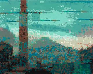 """Bild """"50 Ansichten des Berges Fuji_vom Zug aus betrachtet, Nr. XXVI"""" (2010) (Unikat)"""