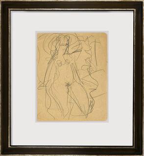 """Bild """"Auf dem Bett sitzendes Mädchen"""" (1915) (Unikat)"""