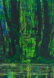 """Bild """"Reflexion über erleuchtete Bäume II"""" (2008/19) (Unikat)"""